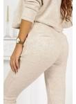 Komplet dresowy sweterkowy bluza i spodnie Ines beżowy