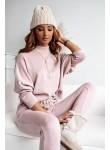 Komplet dresowy sweterkowy bluza i spodnie Ines pudrowy różowy