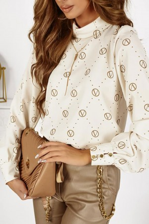 Bluzka koszulowa Lui ecru monogram