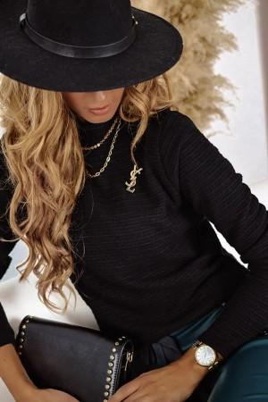 Sweterek półgolf czarny Panama