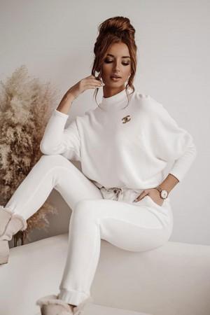 Komplet dresowy sweterkowy bluza i spodnie Ines biały