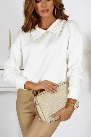 Sweterek z kołnierzykiem perełki Stardust biały