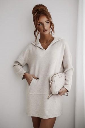 Sukienka tunika sweterkowa beżowa Wintertime
