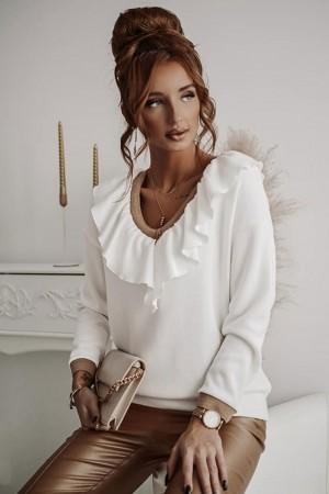 Bluzka sweterkowa z falbanką biała Decora