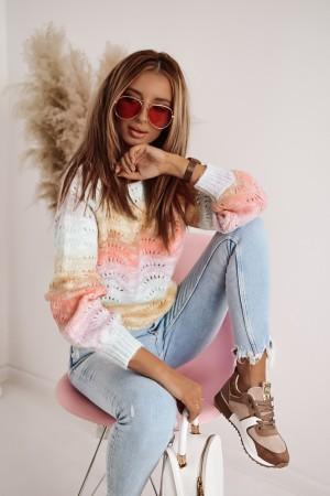 Sweter ażurowy Ombre multikolor
