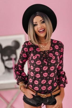 Bluzka Pink Lips czarna