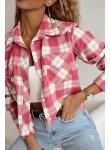 Koszula w kratę z flaneli Isadora różowa
