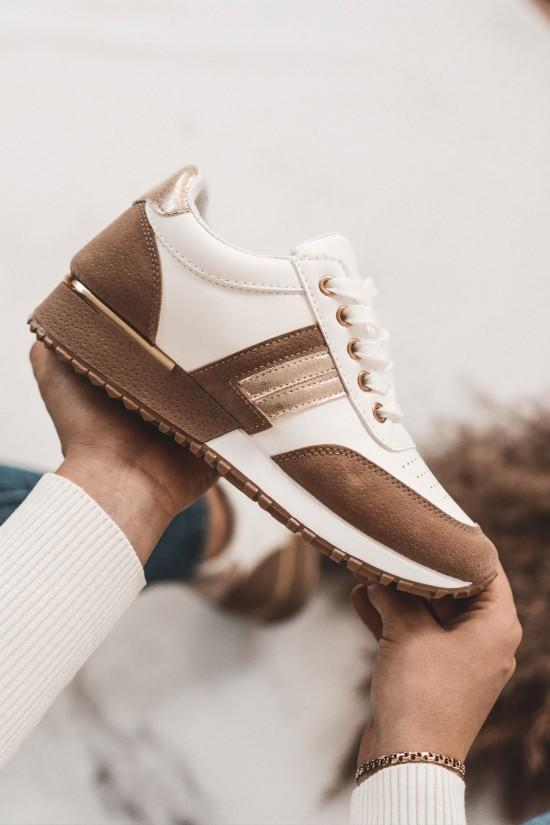 Buty sportowe adidasy beżowo białe Step Out