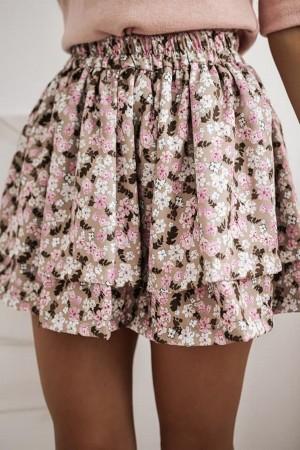Spódnica z falbanami w kwiaty Molly różowa
