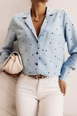 Koszula Xana w czarne kropki błękitna