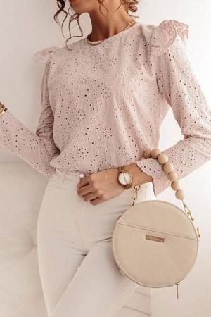 Bluzka ażurowa biała na guziki Leone