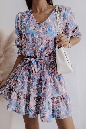Sukienka Miguel niebieska w kwiaty