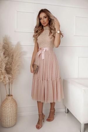 Sukienka koronkowa z tiulem midi Midnight beżowa