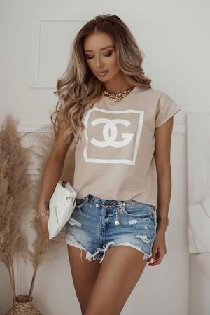 bluzka t-shirt Cool Girl beżowy