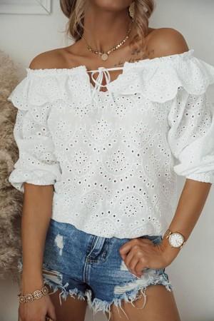 Bluzka hiszpanka ażurowa Capri biała