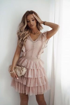 Sukienka koronkowa z tiulem Moment beżowa