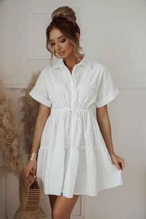 Sukienka ażurowa haftowana biała Maribell
