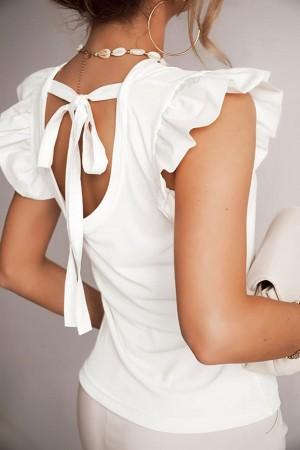 Bluzka z ozdobnym wycięciem i kokardą Bow biała