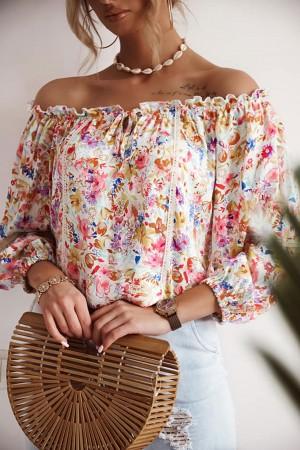 Bluzka hiszpanka w kwiaty Savana biała