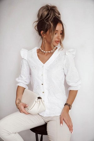 Koszula na guziki Panama biała
