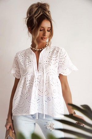 Bluzka ażurowa haftowana Marina biała