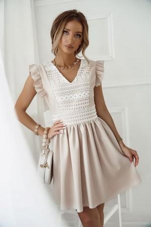 Sukienka beżowa lniana z koronką Venice
