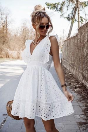 Sukienka ażurowa haftowana biała Luisse