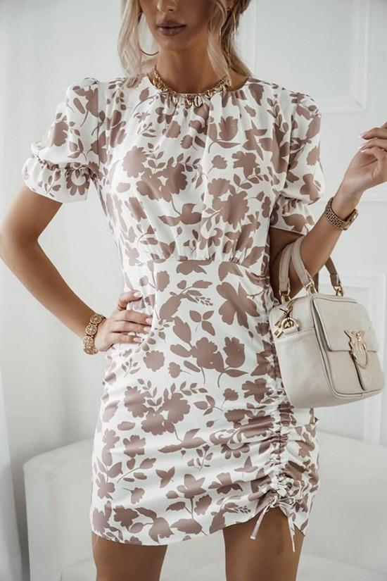 Sukienka w kwiaty Elena różowa