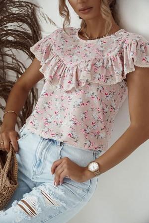 Bluzka w kwiaty Viki różowa