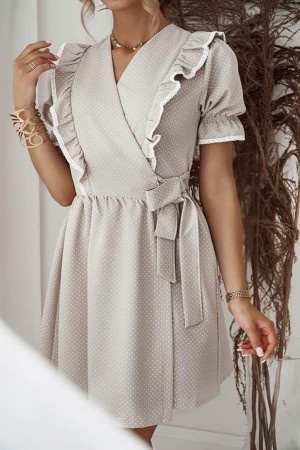 Sukienka Alana beżowa w kropki