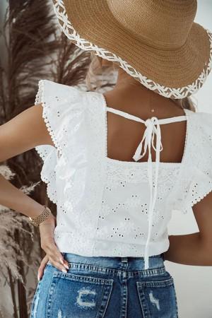 Bluzka ażurowa haftowana Cloe biała
