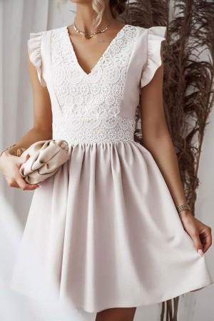 Sukienka beżowa lniana z koronką Syntia
