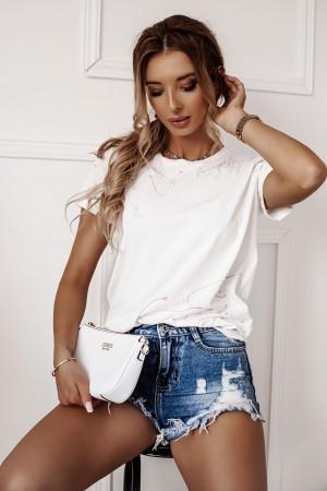 T-shirt La Manuel Splash biały z różowym
