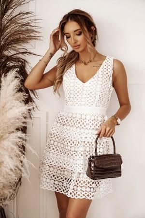 Sukienka z koronki gipiurowej Good Day biała