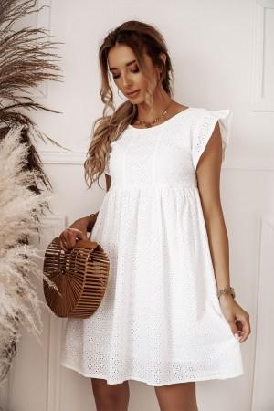 Sukienka ażurowa haftowana biała Madeira