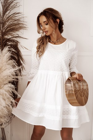 Sukienka ażurowa haftowana biała Mallorca