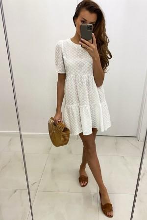 Sukienka ażurowa haftowana biała Bali
