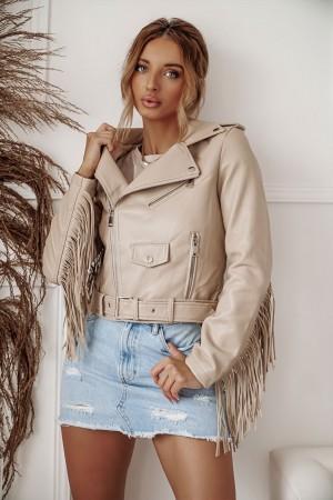 Ramoneska kurtka skórzana boho z frędzlami beżowa