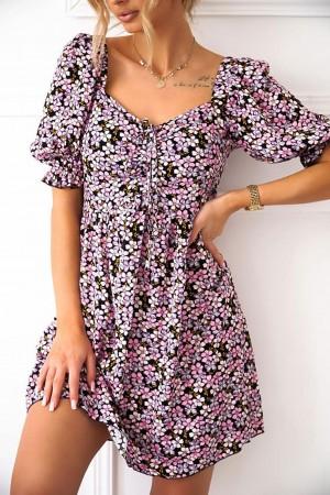 Sukienka w kwiaty Laureno różowo-fioletowa