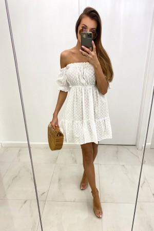 Sukienka hiszpanka haftowana Natis biała