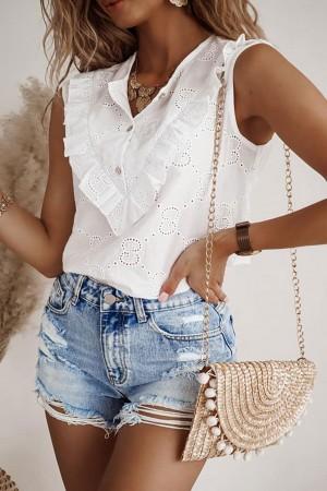 Bluzka biała ażurowa z falbanką Wendy