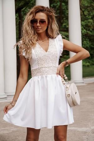 Sukienka lniana biała z beżową koronką Leona