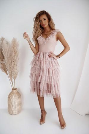 Sukienka tiulowa z falbanami Erina bródny róż