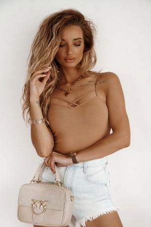 Bluzka na ramiączkach top Lea camel
