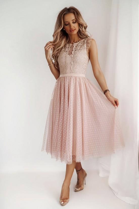 Sukienka koronkowa z tiulem midi Patrizia beżowa