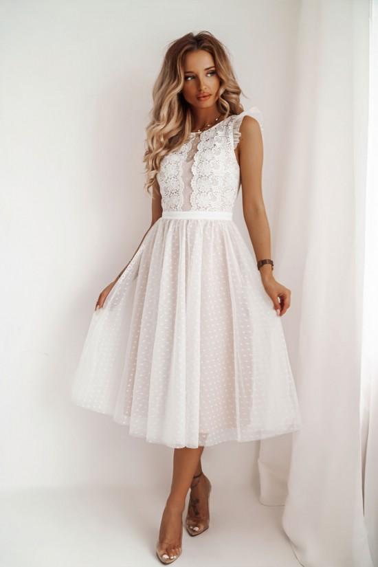 Sukienka koronkowa z tiulem midi Patrizia biała